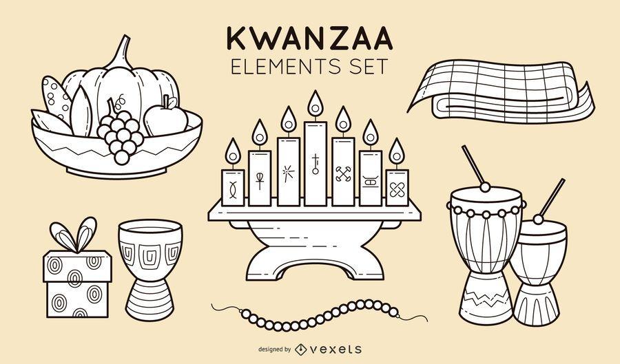 Kwanzaa stroke elements set