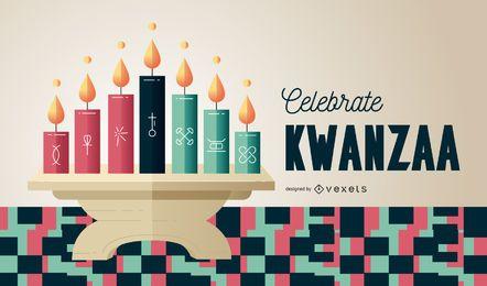 Comemore a ilustração do Kwanzaa kinara