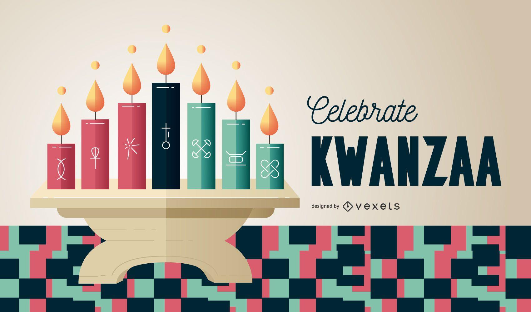 Celebre la ilustración de Kwanzaa kinara