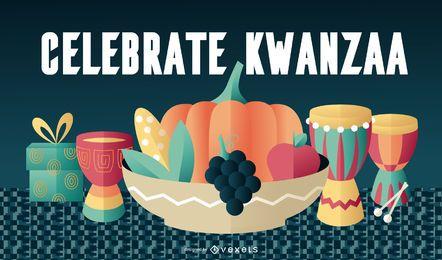 Ilustração dos elementos Kwanzaa
