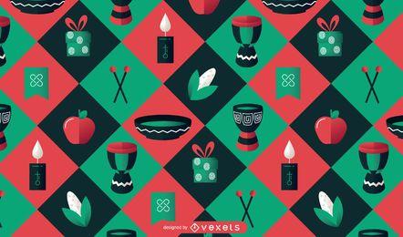 Desenho de padrão colorido Kwanzaa