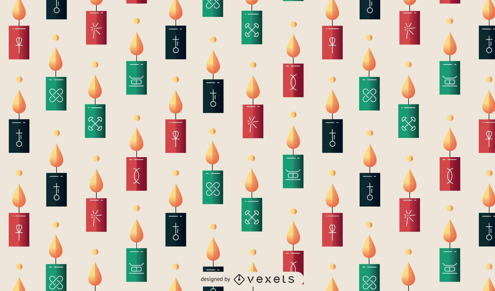 Diseño de patrón de velas Kwanzaa