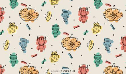 Kwanzaa design de padrão de elementos coloridos