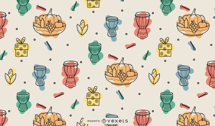 Kwanzaa colored elements pattern design