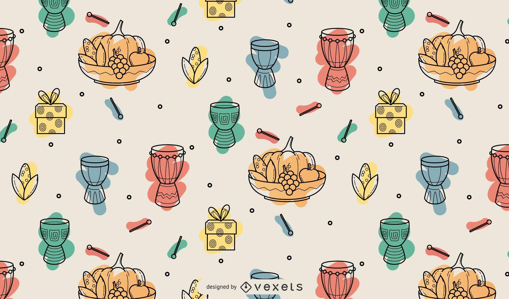 Diseño de patrón de elementos de colores de Kwanzaa