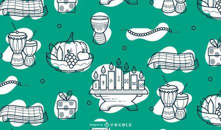 Diseño de patrón de kwanzaa feliz