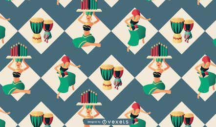 Diseño del patrón de personas Kwanzaa