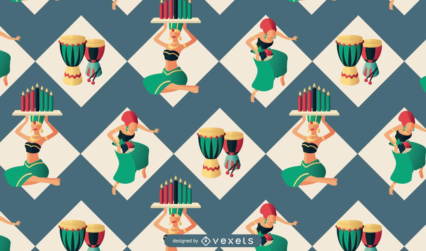 Kwanzaa people pattern design