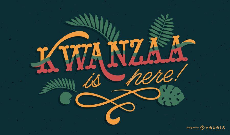 Kwanzaa é aqui rotulação design