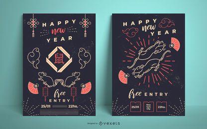 Conjunto de carteles de año nuevo chino