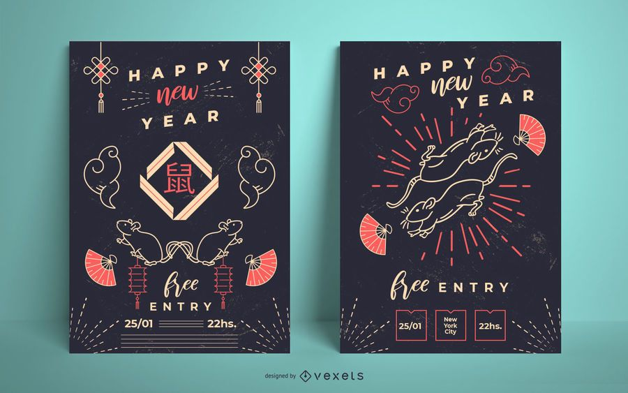 Chinese new year poster set