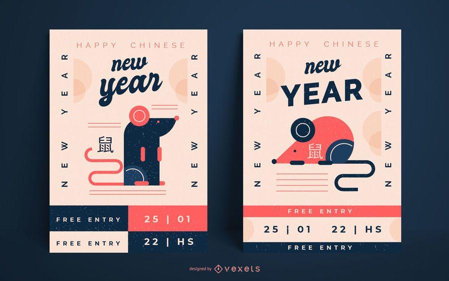 Año nuevo chino rata carteles