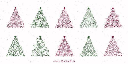 Conjunto de trazos de animales de árbol de navidad