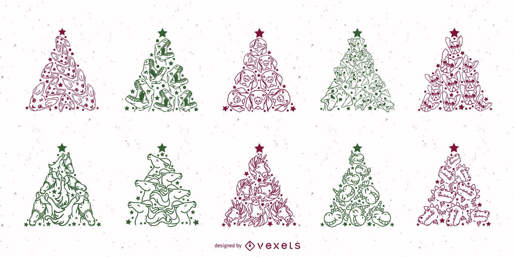 Christmas tree animals stroke set