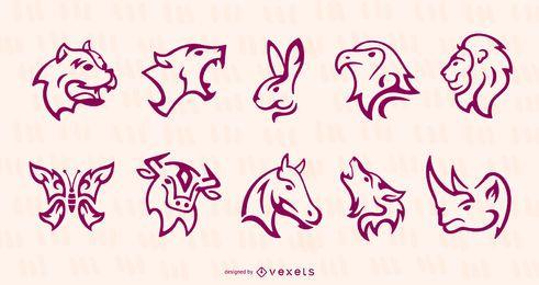 Conjunto de tatuagem de animais de acidente vascular cerebral