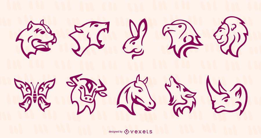 Conjunto de tatuaje de animales de trazo