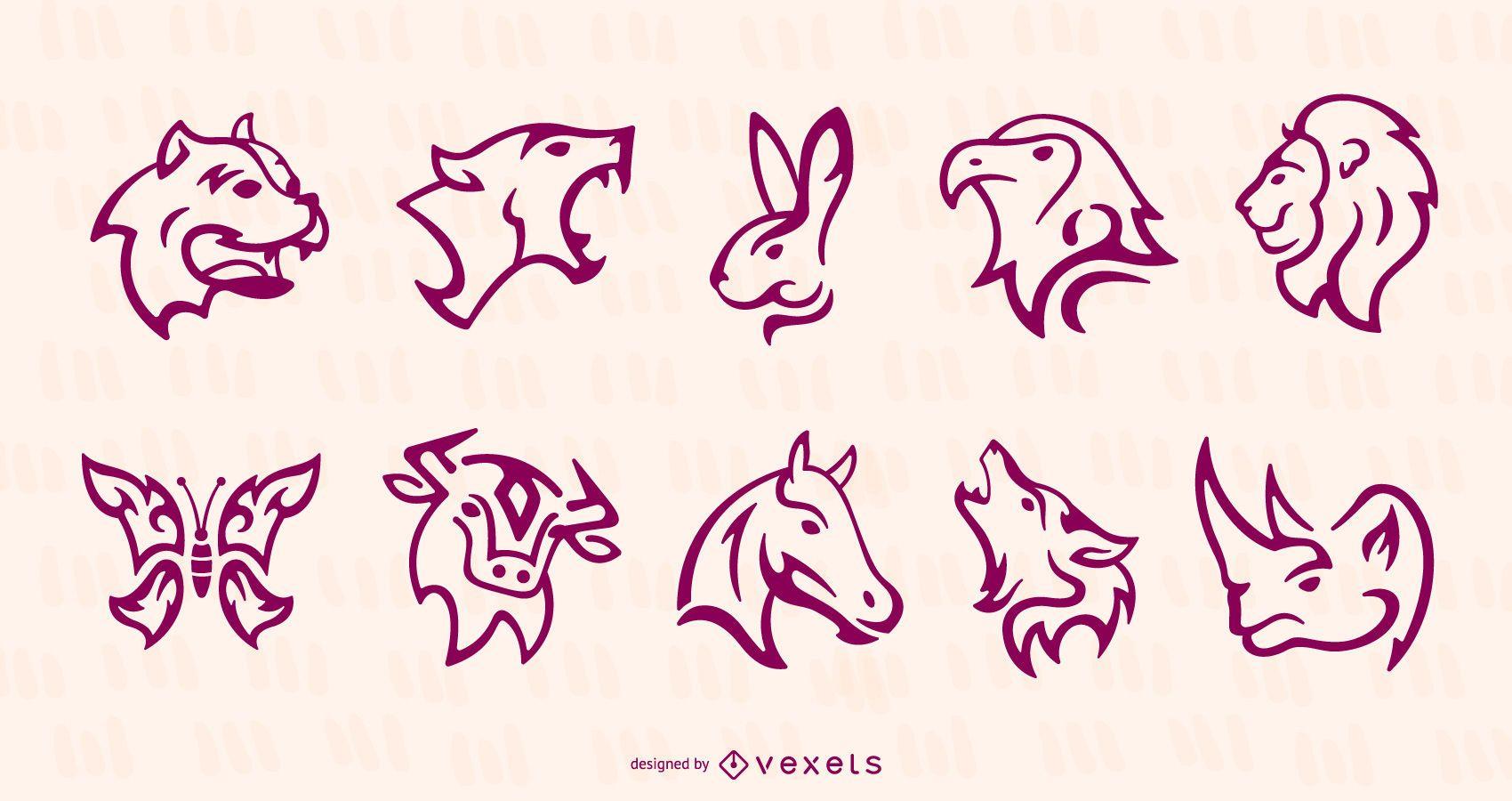 Conjunto de tatuajes de animales de trazo