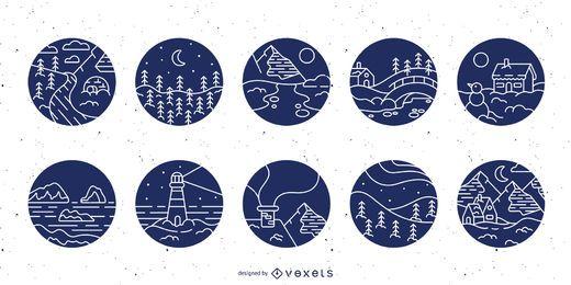 Conjunto de distintivo de traçado de paisagem de neve