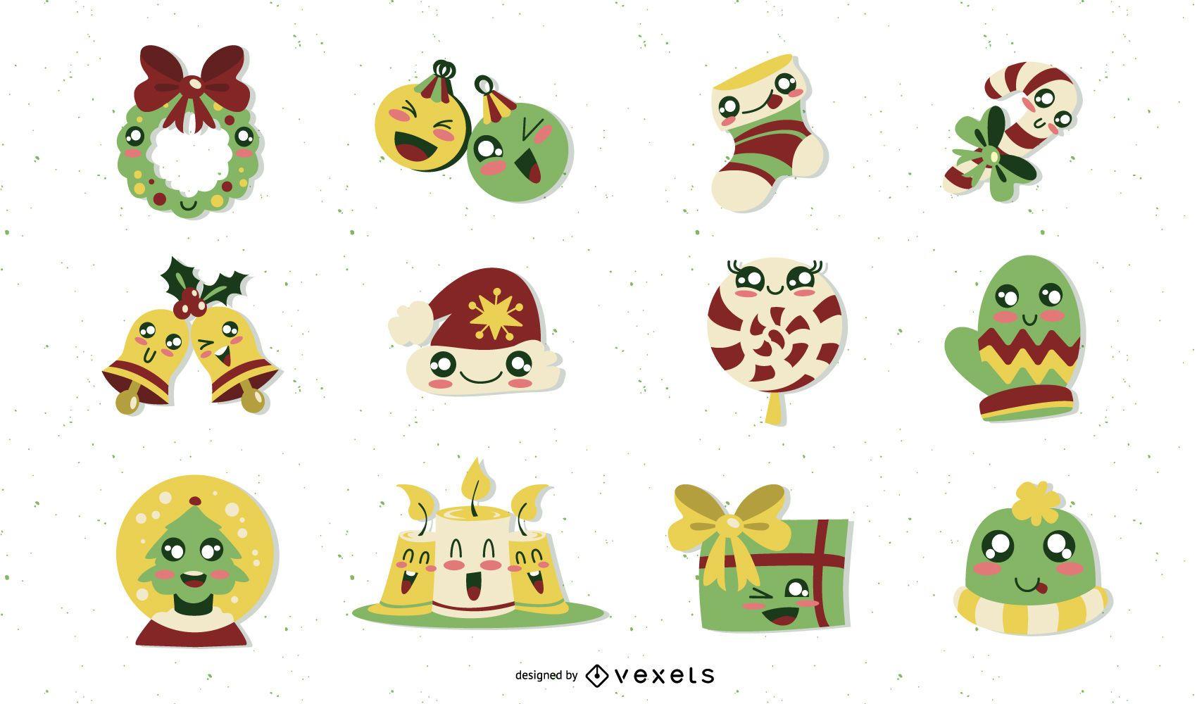 Christmas cute elements set