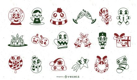 Christmas cute stroke elements set