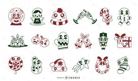 Conjunto de elementos de traço bonito de Natal