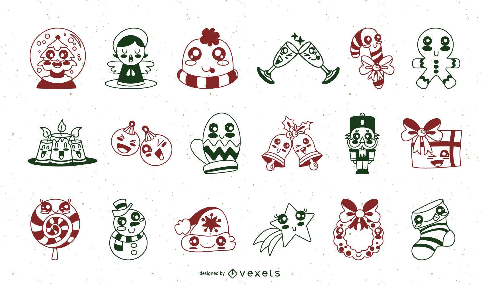 Christmas cute stroke elements set