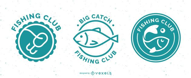 Fishing badges set