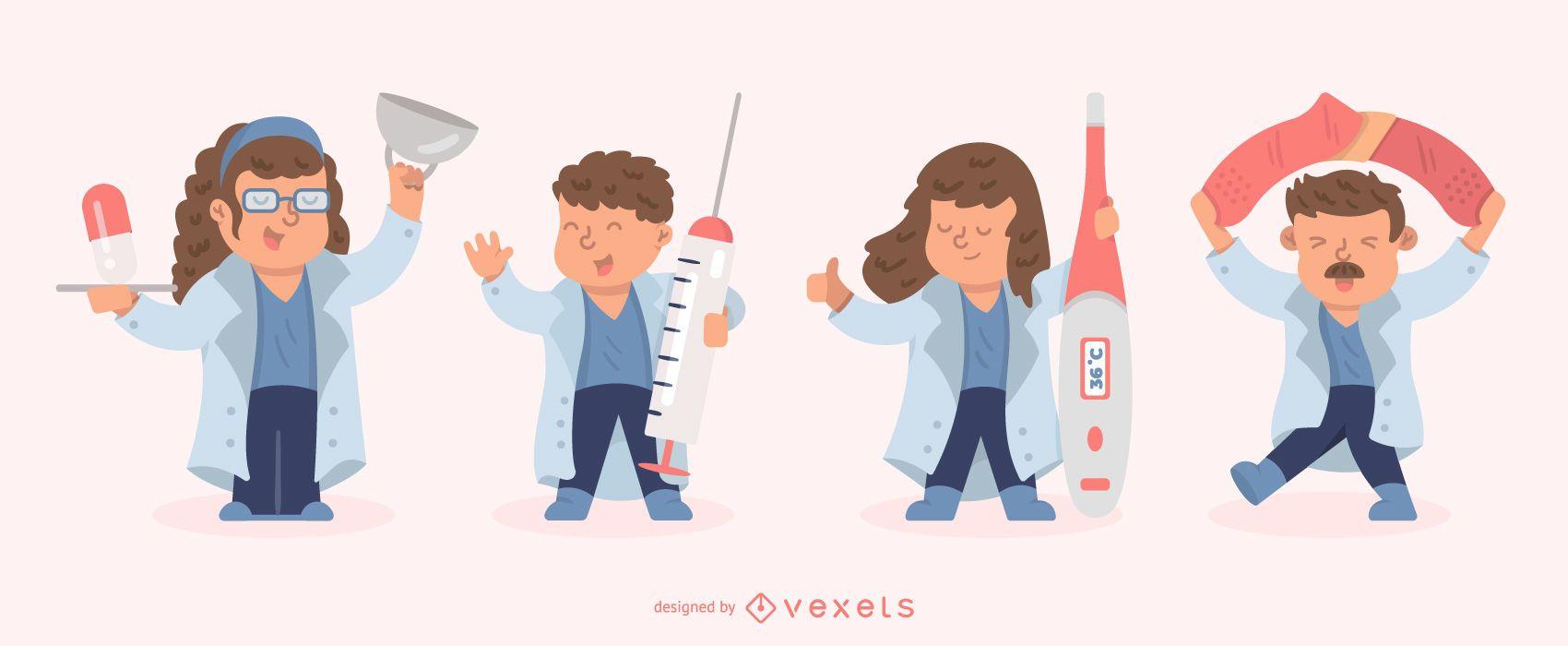 Conjunto de caracteres de enfermeras planas