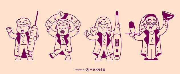 Conjunto de caracteres de enfermeras de trazo