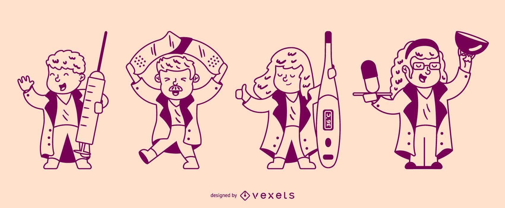 Conjunto de caracteres de enfermeras de accidentes cerebrovasculares