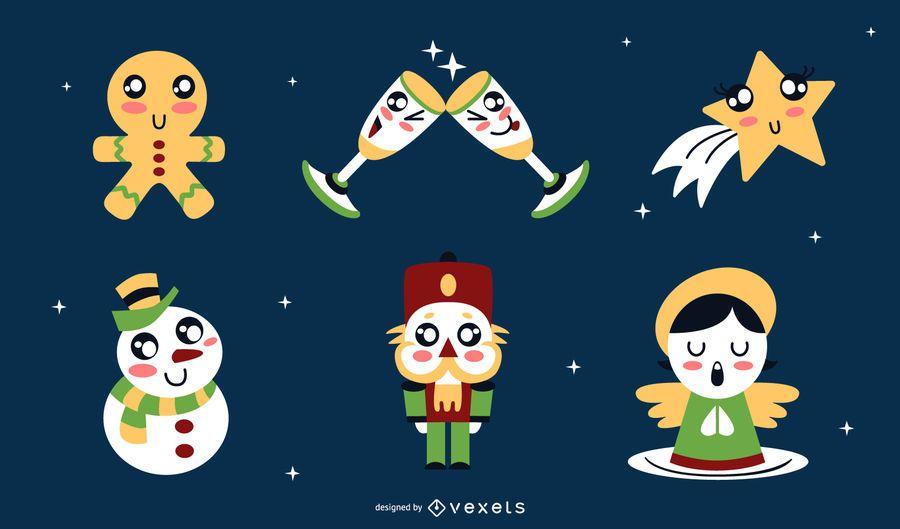 Christmas kawaii elements set