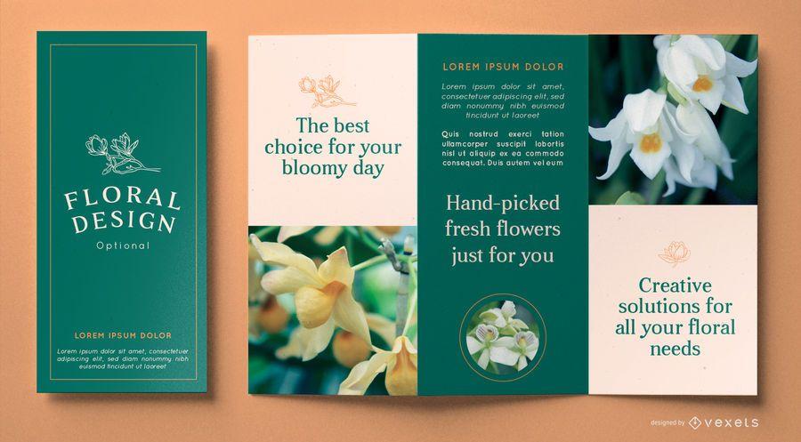 Plantilla de folleto de diseño floral