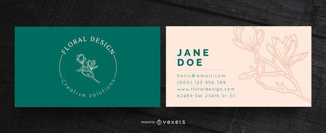 Cartão de visita de design floral