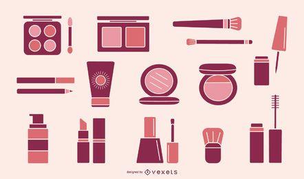 Coleção de elementos de maquiagem rosa