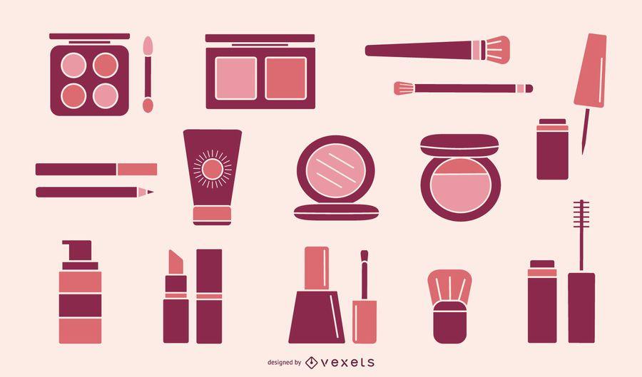 Colección de elementos de maquillaje rosa