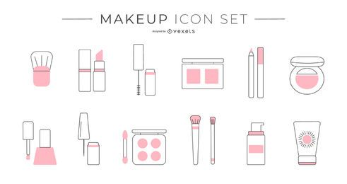 Conjunto de ícones de maquiagem duotônico