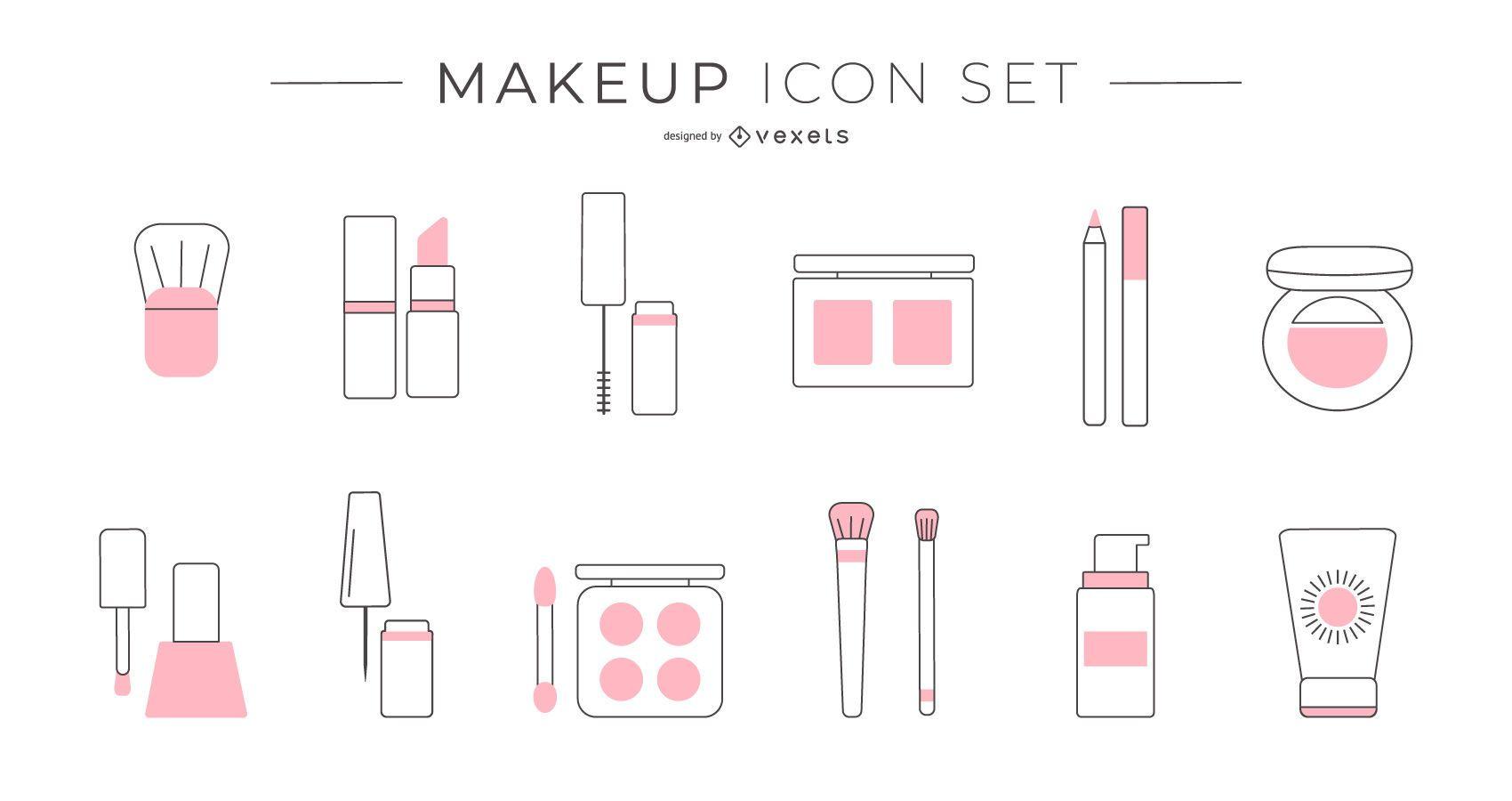 Conjunto de iconos de duotono de maquillaje