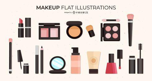 Conjunto de ilustrações plana de maquiagem