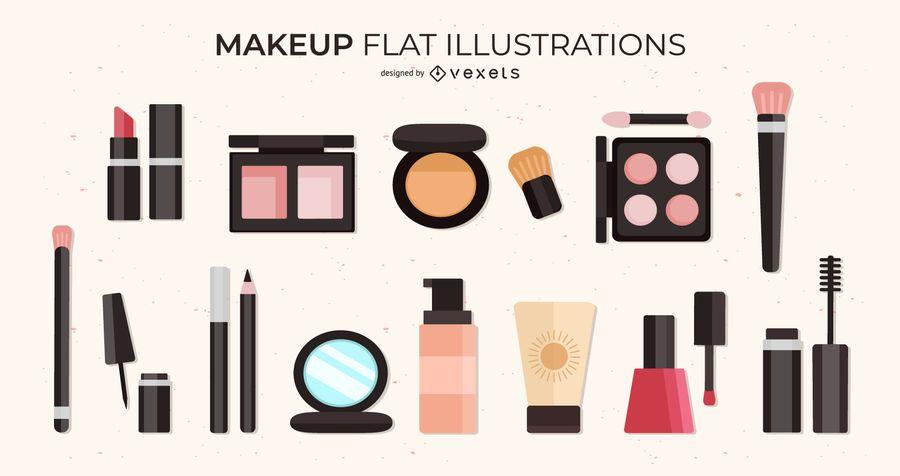 Makeup flat illustrations set