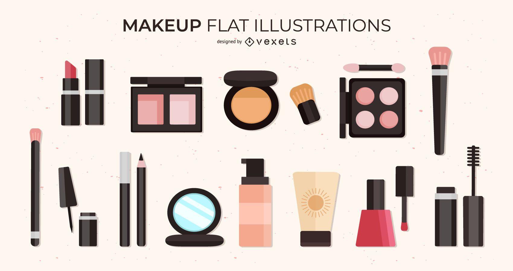 Conjunto de ilustraciones planas de maquillaje