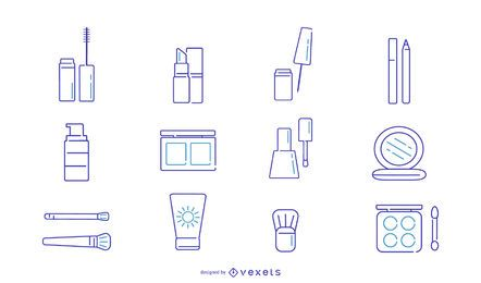 Conjunto de ícones de traço de maquiagem