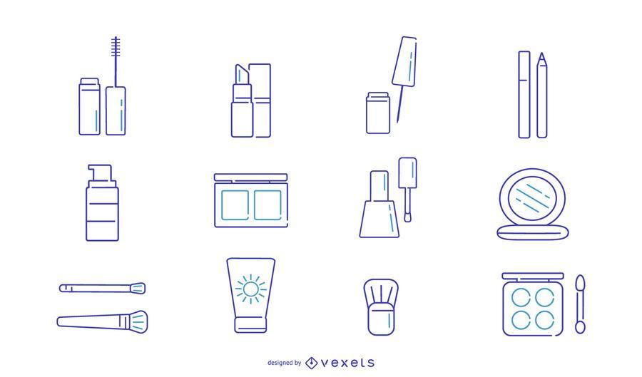 Conjunto de iconos de trazo de maquillaje