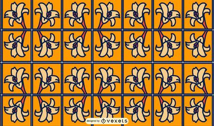 Design de padrão de quadrados de flores