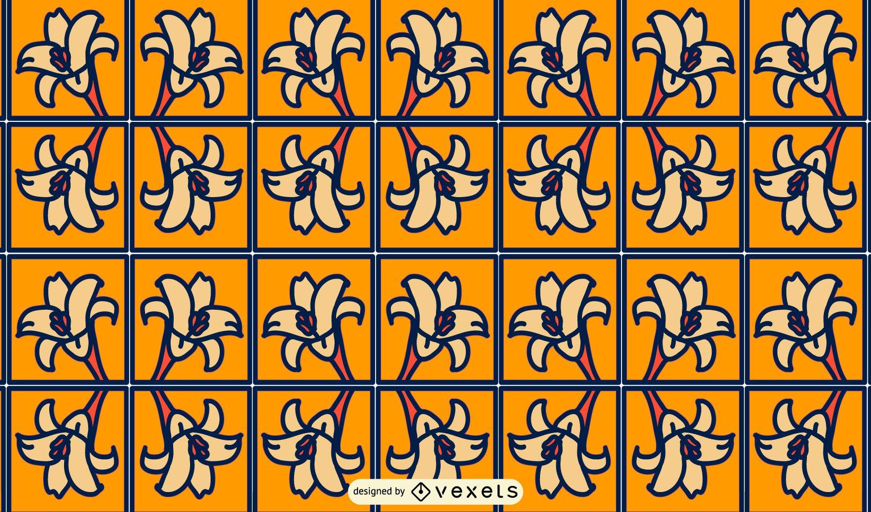 Desenho de padrão de quadrados de flores