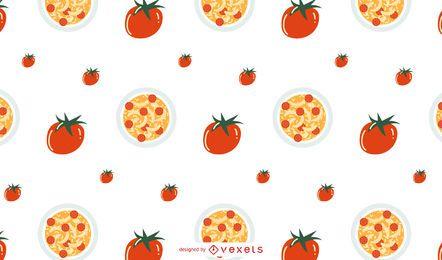 Tomaten-Pasta-Muster-Design