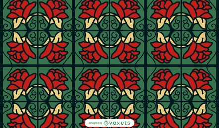 Red roses swirls pattern design