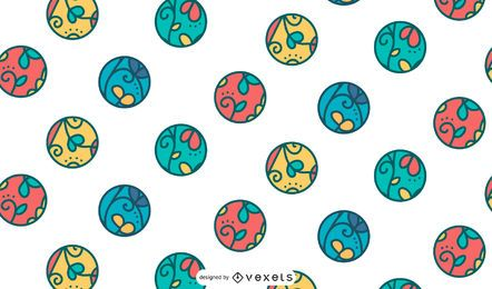 Colorful circles leaves pattern design