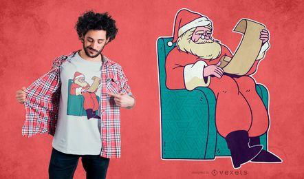 Design de camiseta de lista de Papai Noel