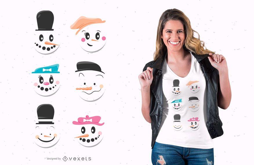 Diseño lindo de camiseta de muñecos de nieve