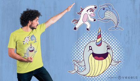 Diseño de camiseta linda Narwhal